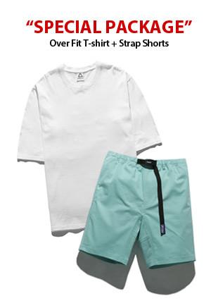 [包]宽松款短袖Ť恤衫(5color)+皮条/束带短裤(8color)包