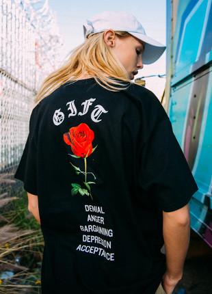 吸虫玫瑰艺术品短袖Ť恤衫FST017Z107